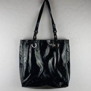 MARC FISHER Black Patent Leather Tote Bag